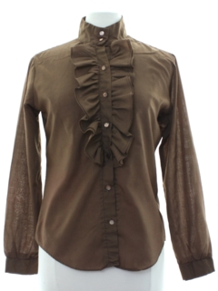 1970's Womens Ruffled Tuxedo Style Secretary Shirt