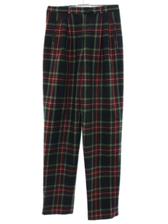 1980's Womens Armani Designer Plaid Slacks Pants