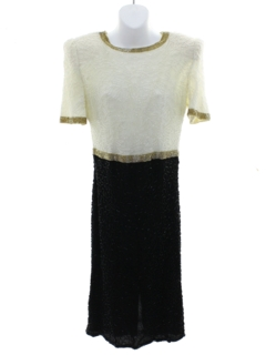 1980's Womens Designer Totally 80s Laurence Kazar Beaded Cocktail Dress