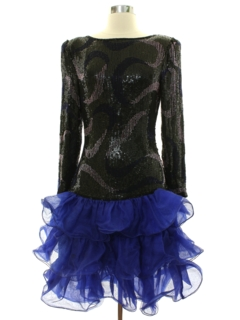 1980's Womens Totally 80s Beaded and Sequined Cocktail or Prom Dress
