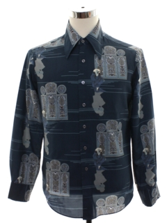 1970's Mens PArt rint Disco Shirt