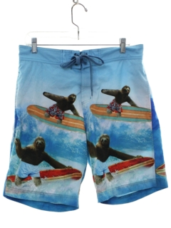 1990's Mens Photo Print Surf Swim Shorts