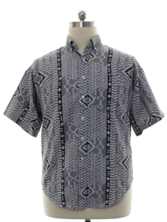 1980's Mens Southwestern Style Graphic Print Shirt