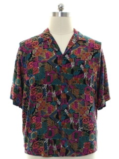 1980's Mens Rayon Graphic Print Shirt