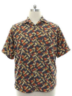 1990's Mens Oleg Cassini Graphic Print Shirt