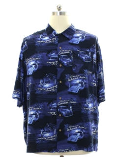 1990's Mens Cruiser Car Themed Rayon Graphic Print Sport Shirt