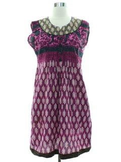 1990's Womens A-Line Ethnic Indian Style Mini Dress