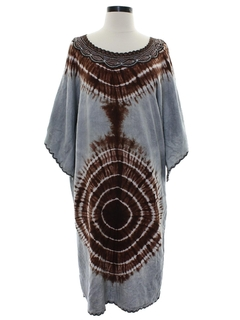 1970's Womens Hippie Dashiki Style Muumuu Dress