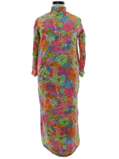1960's Womens Mod Pow Flower Hippie Lounge Maxi Dress