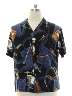 1990's Mens Music Theme Print Rayon Graphic Print Sport Shirt