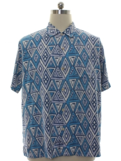 1990's Mens Tommy Bahama Silk Graphic Print Sport Shirt