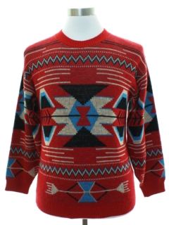 1980's Mens Totally 80s Southwestern Style Sweater
