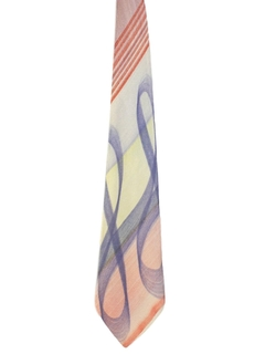 1940's Mens Abstract Hand Painted Wide Swing Necktie
