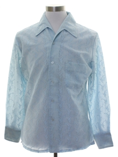 1970's Mens Lace Solid Disco Shirt