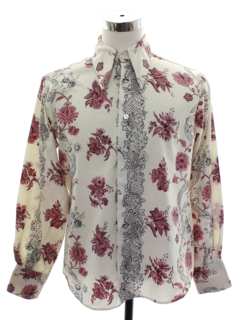 1960's Mens Print Disco Style Peacock Revolution Shirt
