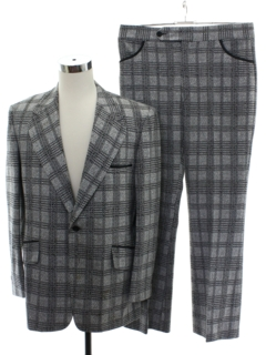 1970's Mens Plaid Disco Suit