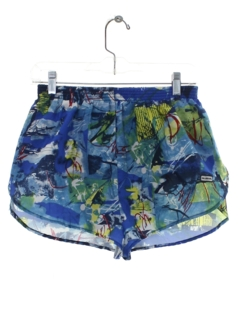 1980's Mens Abstract Print Swim Shorts