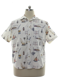 1990's Mens Nautical Themed Print Sport Shirt