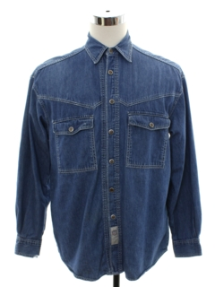 1990's Mens Levis Denim Grunge Western Style Work Shirt