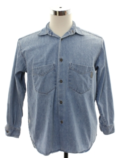 1980's Mens Guess Grunge  Chambray Work Shirt