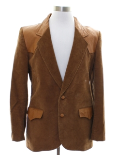 1980's Mens Corduroy and Leather Western Blazer Sport Coat Jacket