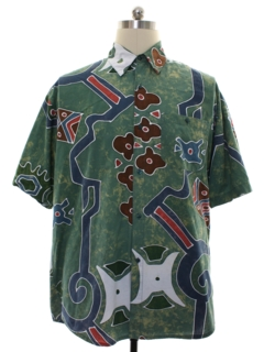 1990's Mens Abstract Graphic Print Shirt
