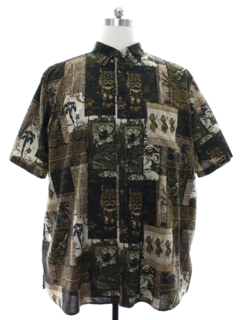 1990's Mens Tapa Print Hawaiian Shirt