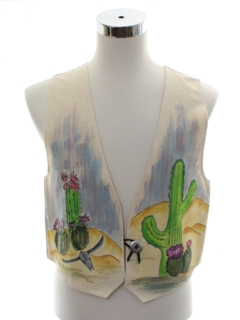 1990's Unisex Hand Painted Western Vest
