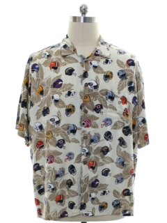 1980's Mens NFL Football Rayon Graphic Print Sport Shirt