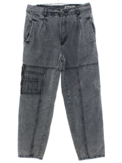 1980's Mens Grunge Acid Washed Denim Jeans Pants