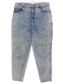 1980's Womens Totally 80s Style Stefano Acid Washed Denim Jeans Pants
