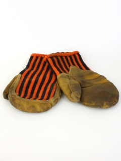 1940's Mens Accessories - Leather Ski Mittens Gloves