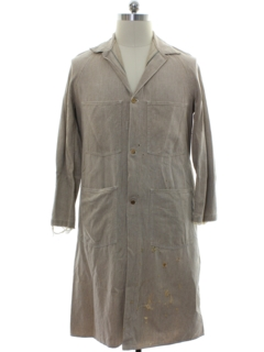 1950's Mens Grunge Lab Coat Duster Work Jacket