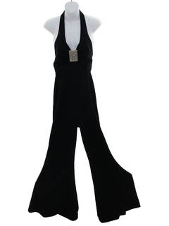 1970's Womens Halter Disco Cocktail Jumpsuit