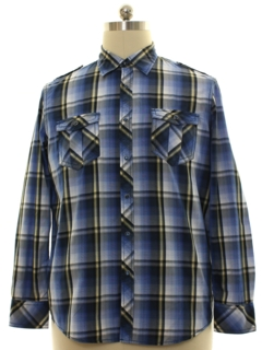 1990's Mens Plaid Western Shirt