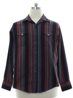 1980's Mens Striped Western Shirt