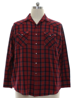 1980's Mens Plaid Western Shirt