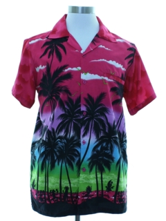 1980's Mens Totally 80s Look Hawaiian Shirt