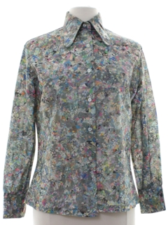 1970's Womens Psychedelic Print Hippie Style Disco Shirt