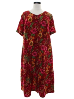 1970's Womens A-line Hawaiian Maxi Dress