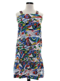 1980's Womens Totally 80s Joan Miro Inspired Abstract Print Dress