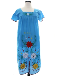 1990's Womens Huipil Style Shift Dress