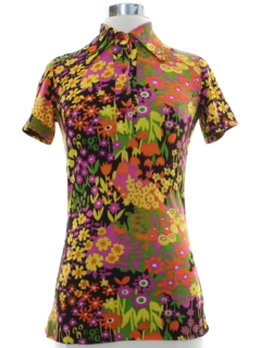 1960's Womens Mod Pow Flower Hippie Shirt