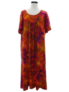 1960's Womens Psychedelic Print Hawaiian Muu Muu Maxi Dress