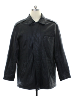 1990's Mens Leather Car Coat Jacket