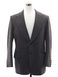 1970's Mens Houndstooth Disco Blazer Sport Coat Jacket
