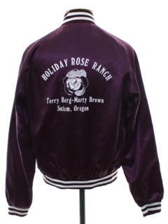 1980's Unisex Holiday Rose Ranch Satin Baseball Jacket