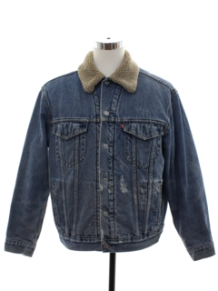1990's Mens Grunge Levis Sherpa Denim Trucker Jacket