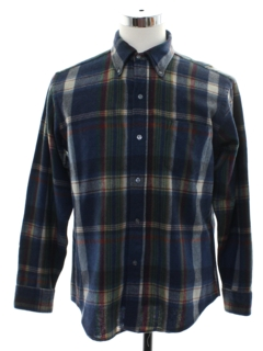 1960's Mens Mod Plaid Wool Shirt