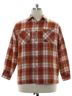 1980's Mens Grunge Style Plaid Sport Shirt